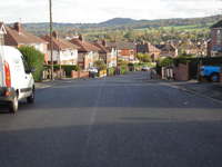 Completed road recycling with tarmac