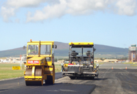 Laying tarmac on recycled taxiway